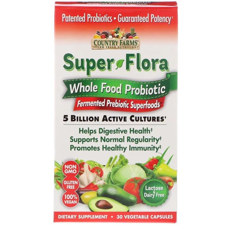 Country Farms, Суперфлора, цельнопищевой пробиотик, суперпродукты с ферментированными пробиотиками, 30 растительных капсул