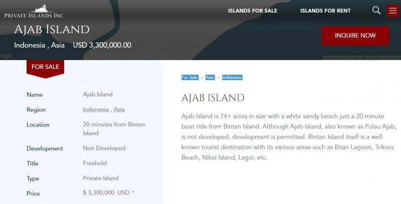 Pulau Ajab dijual online