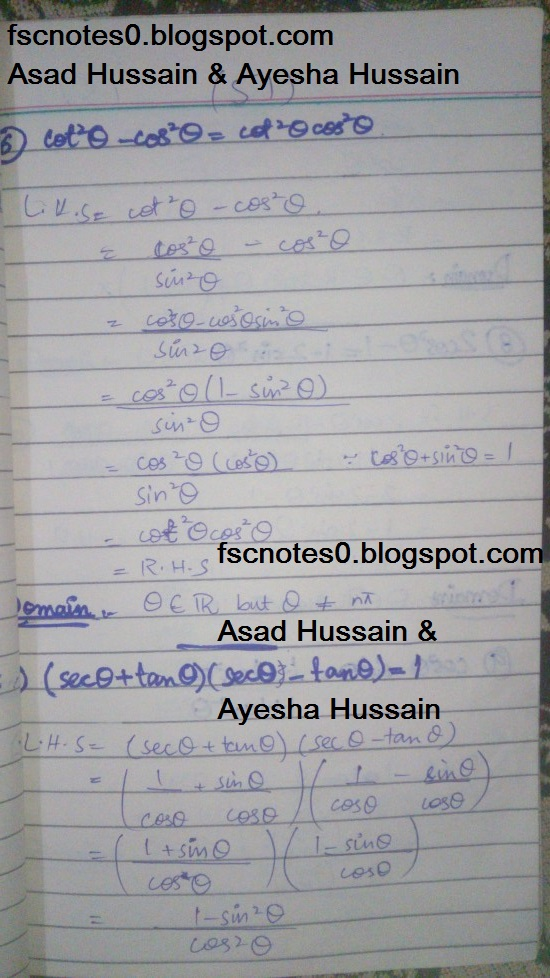 FSc ICS FA Notes Math Part 1 Chapter 9 Fundamentals of Trigonometry Exercise 9.4 Question 6 - 10 by Asad Hussain & Ayesha Hussain