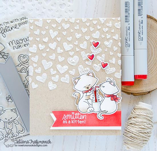 Smitten Cats Valentine by Tatiana Trafimovich | Newton's Sweetheart Stamp Set and Tumbling Hearts Stencil by Newton's Nook Designs #newtonsnook #handmade