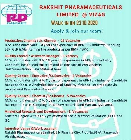 Job Vacancy Direct Walk-in On 23.10.2020 For Rakshit Pharmaceuticals Limited, Visakhapatnam.