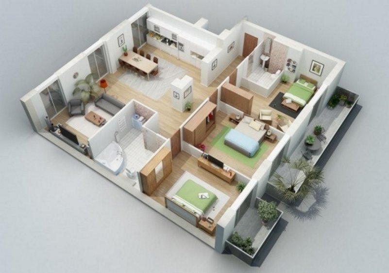 denah rumah ukuran 10x12 m moderen