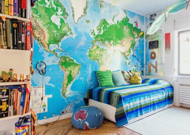 världskarta tapet fototapet barnrum pojktapet