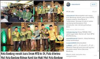 Foto: Ridwan Kamil Saat Menerima Piala Penghargaan Juara Umum MTQ Tingkat Jabar 2