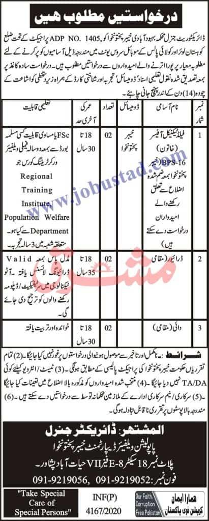 jobs in Population Welfare Department KPK Nov 2020