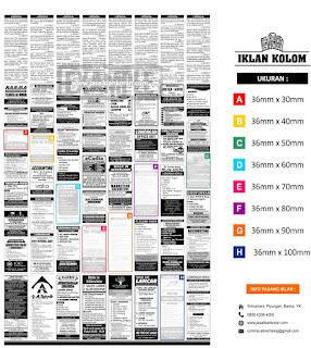 pasang iklan Kolom di koran KR