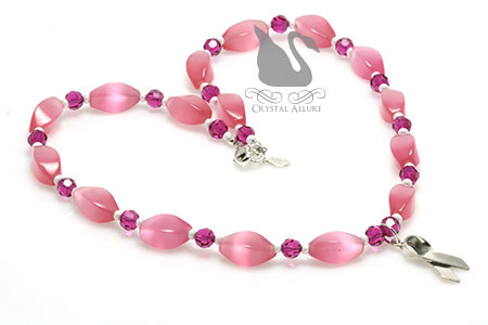 Pop of Pink Breast Cancer Awareness Ribbon Necklace (NAB106)