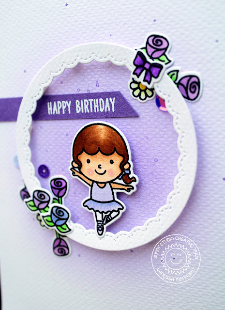 Sunny Studio Stamps: Tiny Dancers Pretty Purple Happy Birthday Ballerina Card by Vanessa Menhorn