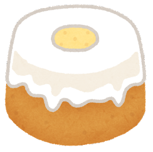 シフォンケーキのイラスト(ホール・クリーム)