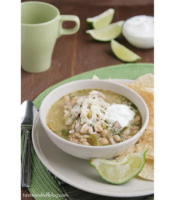 Slow Cooker White Turkey Chili from Taste and Tell found on SlowCookerFromScratch.com