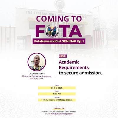 futa courses and their requirement - COMING TO FUTA Seminar