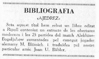 Recorte de la noticia sobre la publicación del libro AJEDREZ de Juan U. Bäbler Martí en 1930