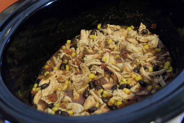 Everything mixed together in the crock pot.