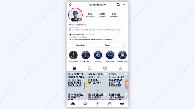 contoh blog pribadi instagram
