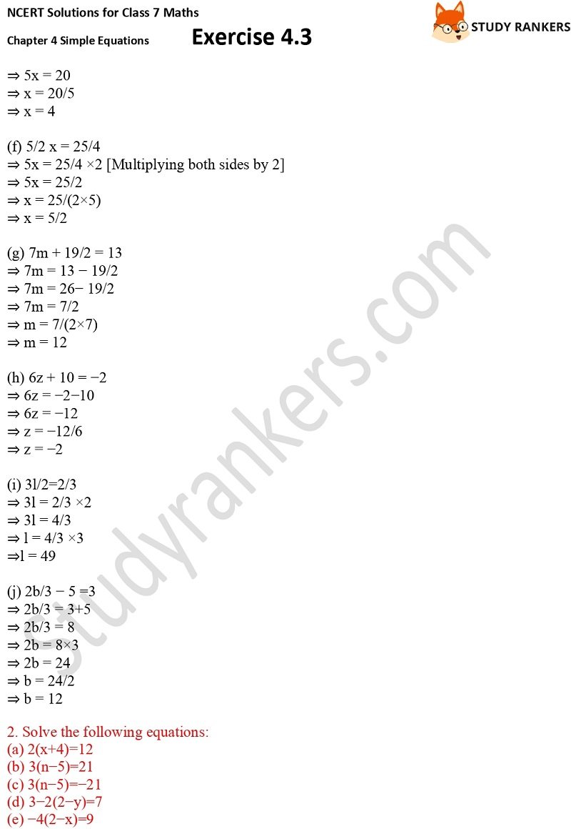 NCERT Solutions for Class 7 Maths Ch 4 Simple Equations Exercise 4.3 2