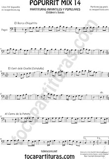 Partitura de Fagot Popurrí Mix 14 Chiquitito, El Cant dels Ocells, Al corro de la patata Sheet Music for Bassoon Music Scores