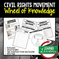 Civil Right Movement,  Progressive Era, American History Activity, American History Interactive Notebook, American History Wheel of Knowledge