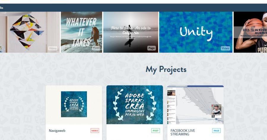 Creare video e immagini per web e progetti con adobe spark for Creare progetti online