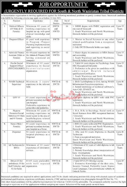 Humanitarian Organization Jobs in Pakistan 2021 – Jobs in Pakistan 2021