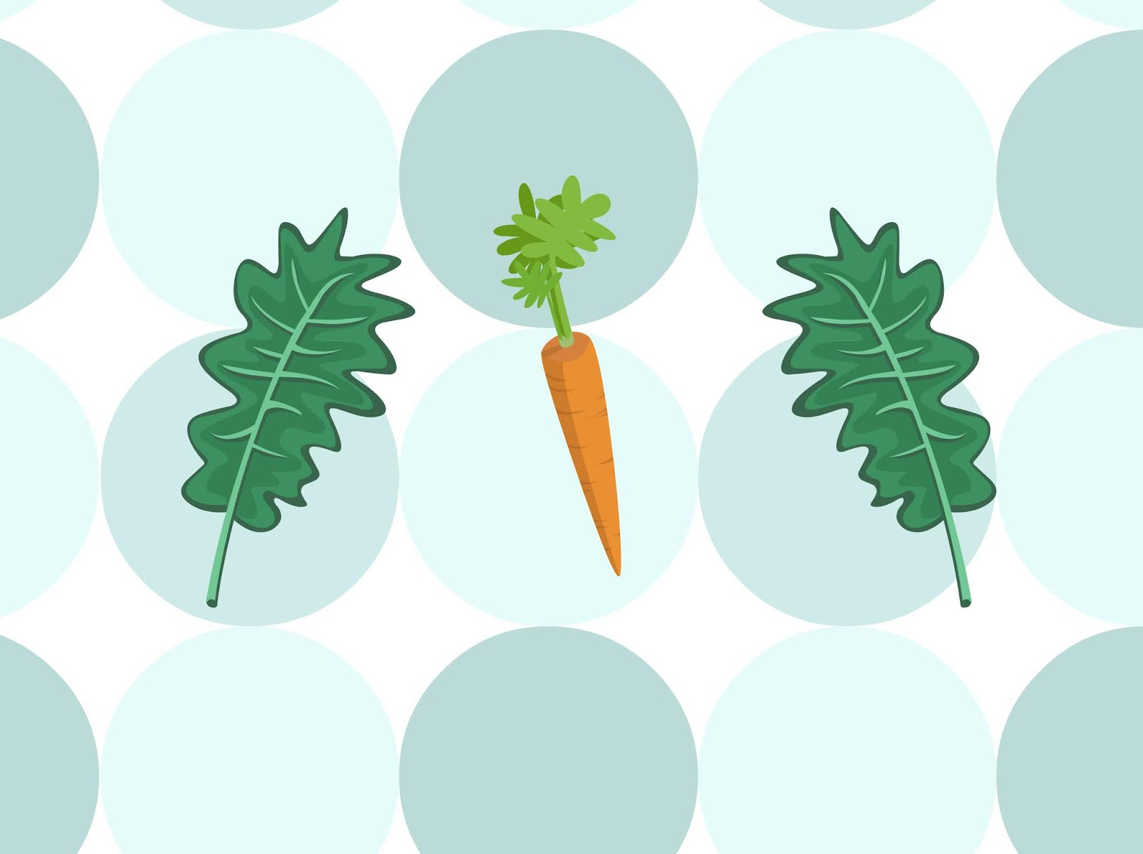A Veggie Illustration With Lettuce Leaves and Carrots