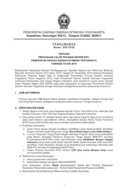 Pengadaan CPNS Pemerintah Daerah Istimewa Yogyakarta (DIY) Formasi Tahun 2019