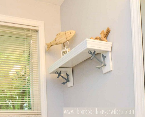 Nautical Bathroom Remodel with Decorative Shelf Brackets
