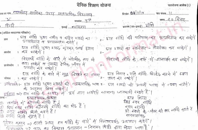 Hindi Vyakaran Lesson Plan of Sandhi