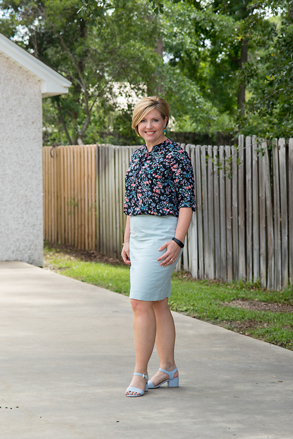 floral lace up top and mint pastel skirt