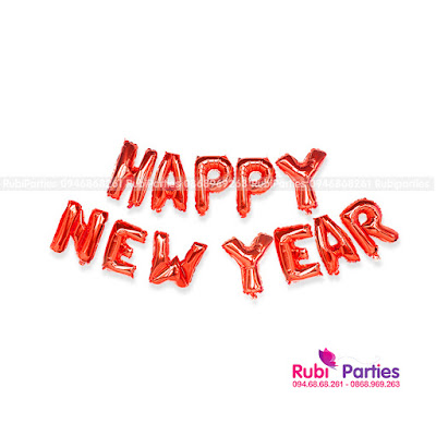 bong chu happy new year mau do
