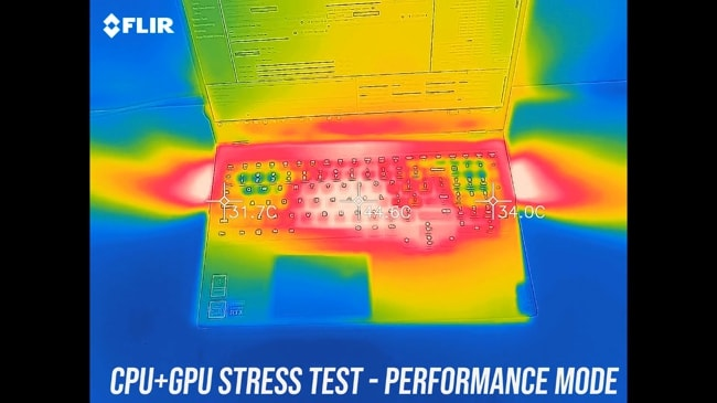 Keyboard and palm rest feel hotter than average during the performance mode CPU+GPU stress test in Legion 7i.