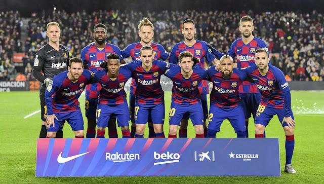 F. C. BARCELONA. Temporada 2019-20. Ter Stegen, Umtiti, Rakitic, Buquets, Piqué. Messi, Ansu Fati, Griezmann, Sergi Roberto, Arturo Vidal y Jordi Alba. F. C. BARCELONA 1 GRANADA C. F. 0. 19/01/2020. Campeonato de Liga de 1ª División, jornada 20. Barcelona, Nou Camp (65.444 espectadores). GOLES: 1-0: 75', Messi.