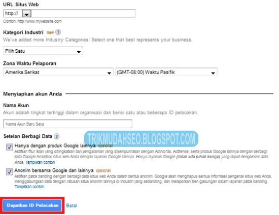 isi data blog anda untuk akun baru