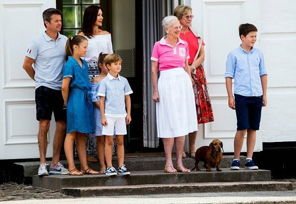 Queen Margrethe, Prince Frederik, Princess Mary, Prince Christian, Princess Isabella, Vincent, Princess Josephine and Queen Anne Marie