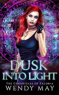 urban fantasy female protagonist, redhead stands against a colorful background with magical elements