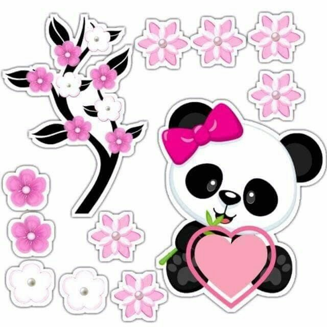 Osita con Flores en Rosa: Toppers para Tartas, Bizcochos o Pasteles para Imprimir Gratis.