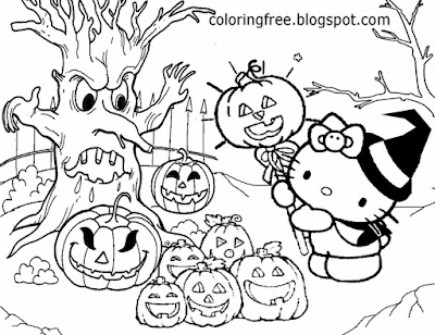 Poltergeist woodland pumpkin patch Trick or Treat Hello Kitty pictures to draw Halloween color sheet