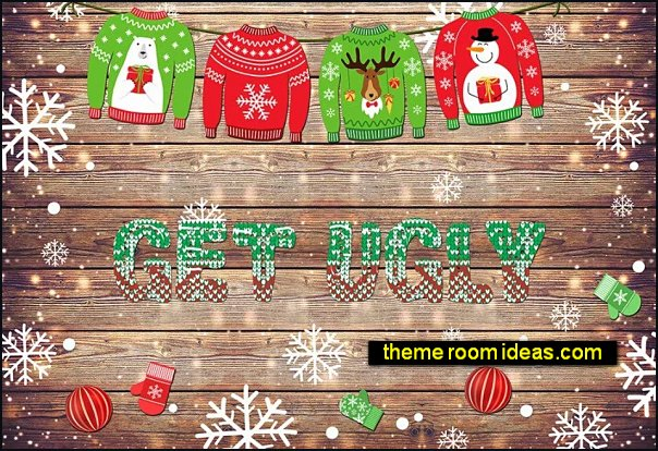 Ugly sweater party decorations  - ugly mens sweaters - womens ugly sweaters - quirky party sweaters - embellished ugly sweaters - decorate yourself ugly sweater decorations - ugly Christmas slippers - peppermint candy cane Leggings - Christmas party ugly sweaters