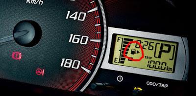 mengetahui lokasi tutup tangki bahan bakar mobil  pada indikator bahan bakar