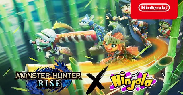 Ninjala (Switch) inicia colaboração com Monster Hunter Rise (Switch)