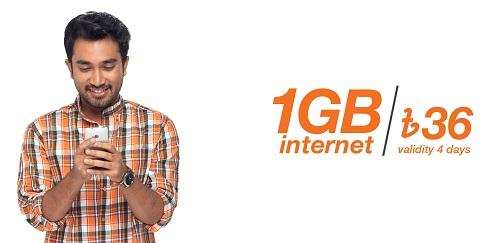 Banglalink 1 GB Tk 36 for 4 Days Internet Offer Pack Code 2020