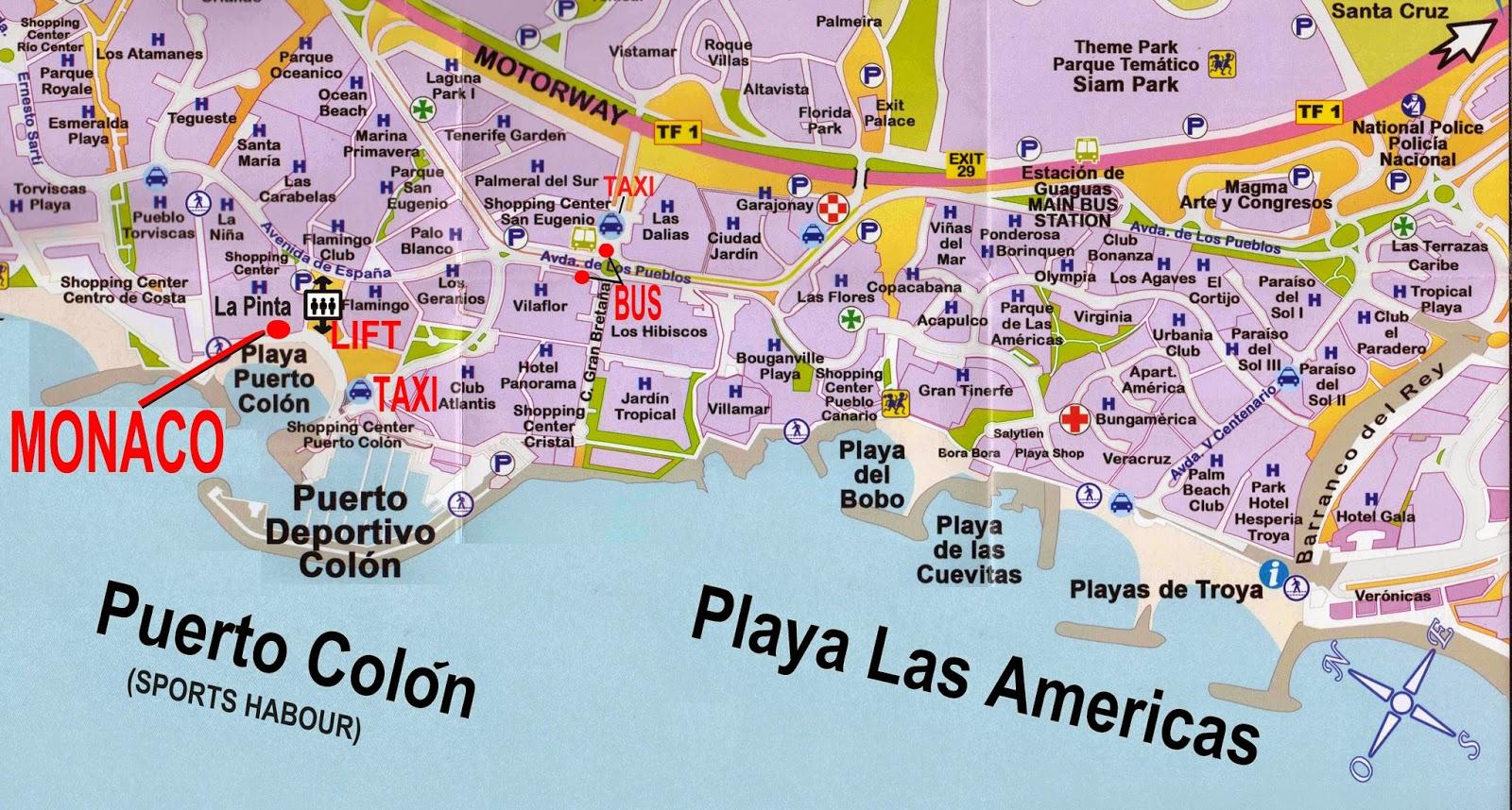 Map Of Hotels In Tenerife Playa De Las Americas