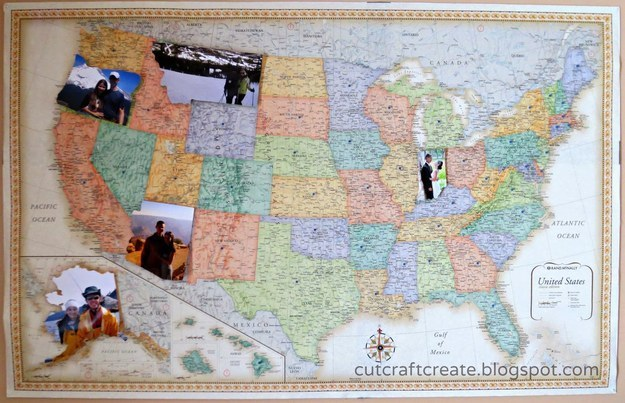 American Map Photo Frame