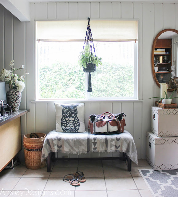 Neutral Boho Entryway! Vintage mirror bench plants