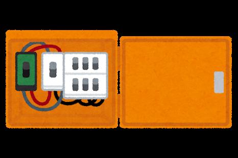 工事用の分電盤のイラスト(開いた状態)