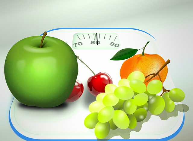 Weight Loss Scale Image with Assorted Fruits