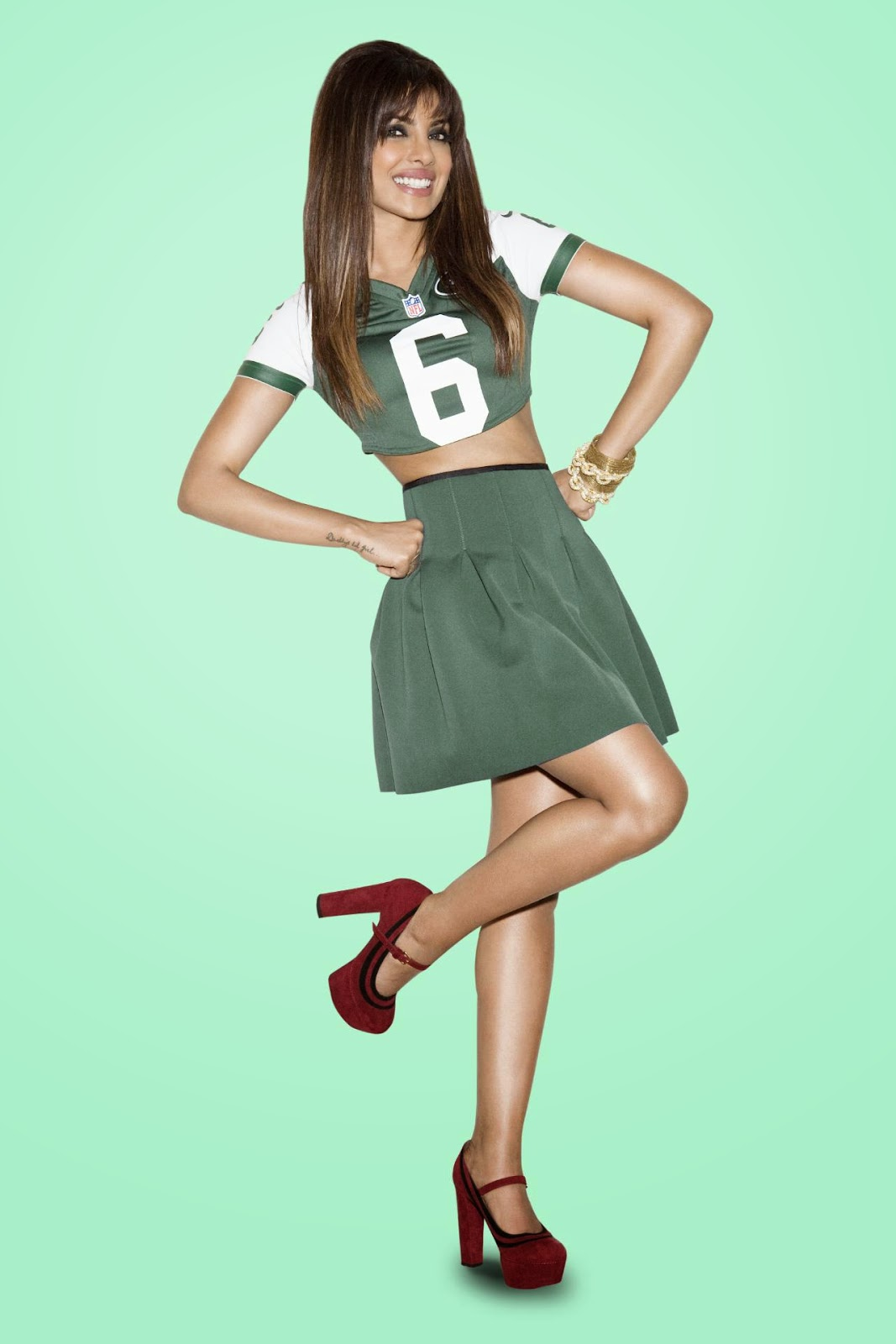 Priyanka Chopra in Green NFL Cheerleader Dress