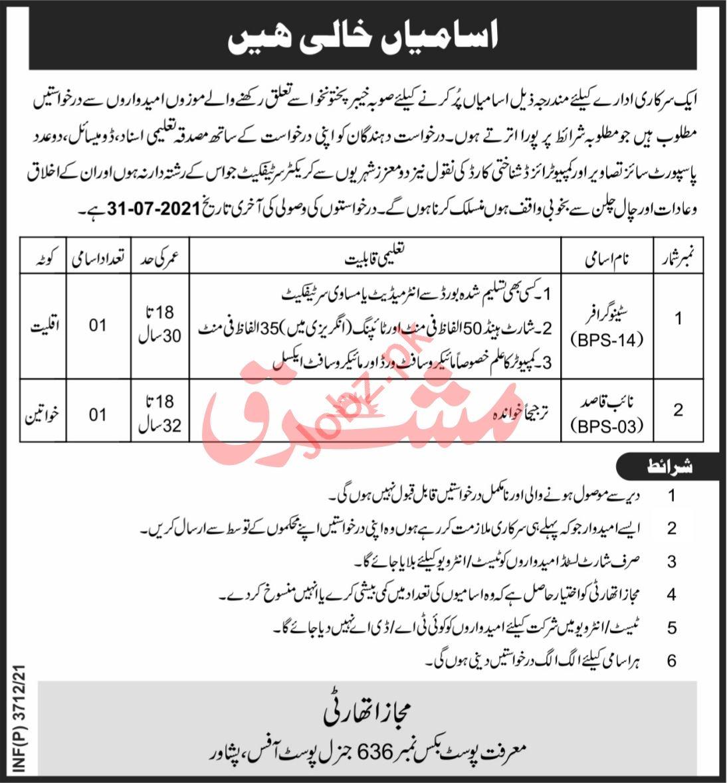Latest Public Sector Organization Management Posts Peshawar 2021
