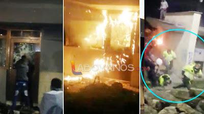 Intentaron quemar CAI con policías a dentro, cuando salieron los siguieron golpeando, en Bogotá
