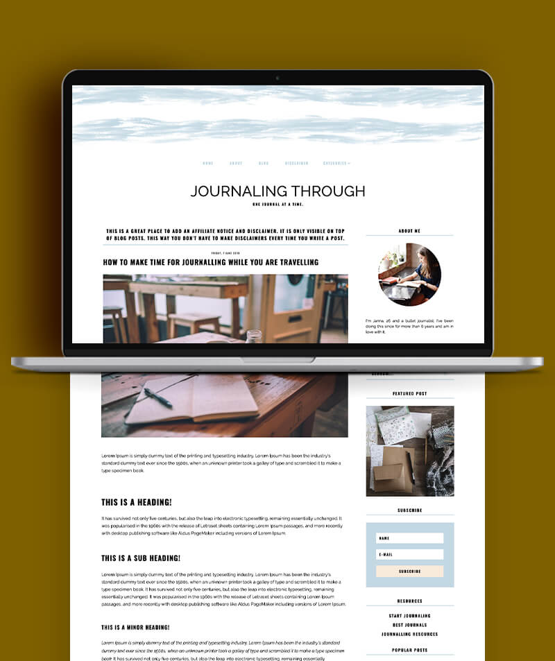 Journaling through responsive blogger template post page