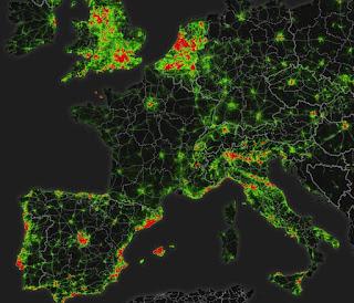 Mapa de actividad cilista con Strava en parte de Europa
